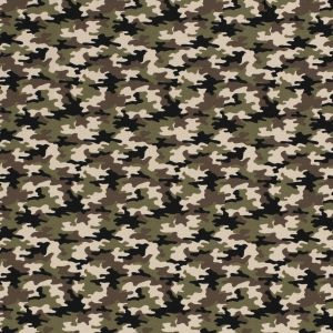 Cotton tricot Small Camouflage beige