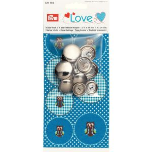 Prym Love Button fabric Owl + 7 buttons
