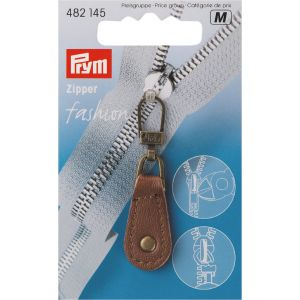 Fashion Zipper pullers Leather metal brown
