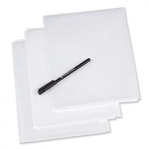 Plastic tracing sheets with pen 1 x 1.5m