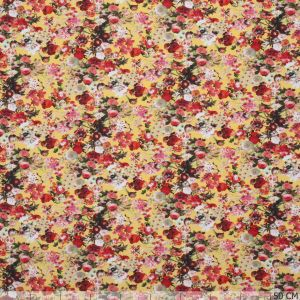 Cotton Jersey Little Flower Yellow