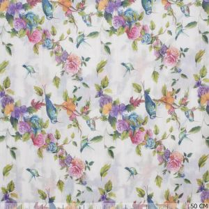 Crushed Burnout Birds/Flowers Off-White