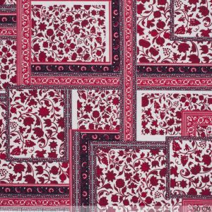 Cotton Tricot Patch Flower Red
