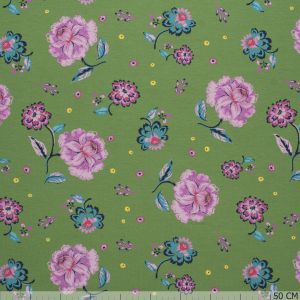 French Terry Flower Print Olive