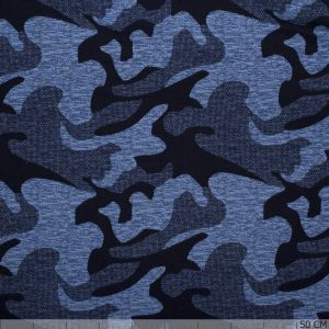 French Terry Viscose Camou Blue