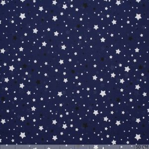 Glow in the Dark Poplin Stars Blue