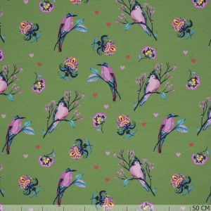 French Terry Bird Print Olive
