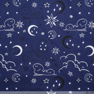 Glow in the Dark Poplin Universe Blue