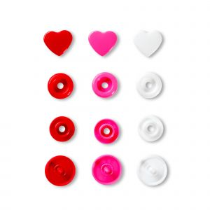 Prym Love Color drukknop. Hart 12,4mm rood/roze/wit