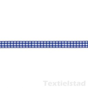 Sierlint geruit 10 mm royal blauw / wit