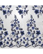 Mesh Embrodery Flowers 3D Blue